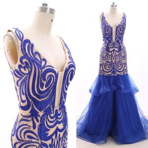 Mermaid Royal Blue Pageant Dress Evening Gown